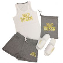 Nap Queen Vest Top & Shorts Pyjamas Set - Lazy Napping PJs + Add Slippers Option